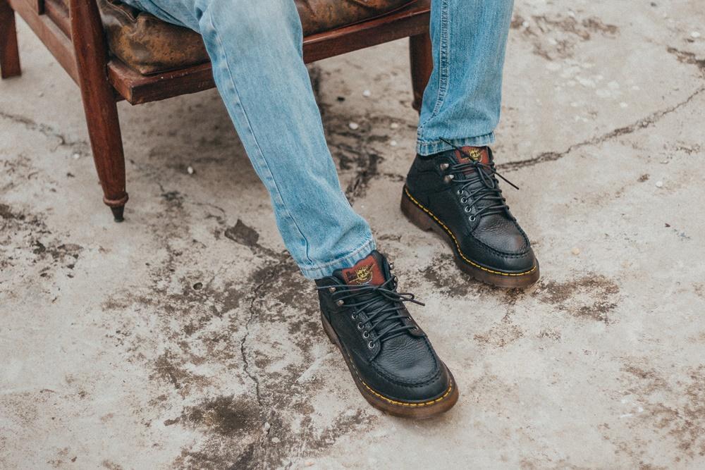 Giày da dr martens nam cổ lửng gồ 5989 thái lan màu đen