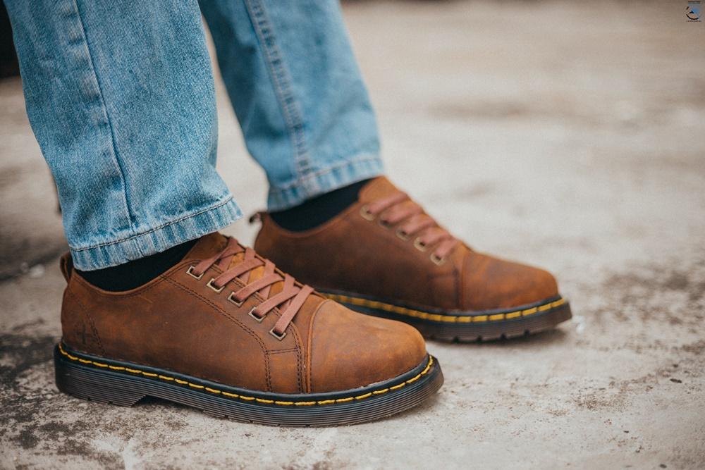 Giày dr martens nam thái lan 8053 sáp vuông màu nâu